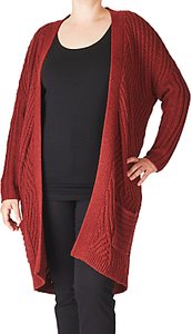 Read more about Adia cable knitted cardigan merlot melange