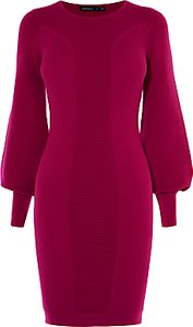 Read more about Karen millen drama sleeve knitted dress pink