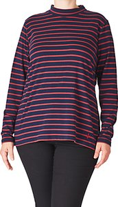 Read more about Adia striped roll neck jersey top red merlot