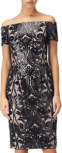 Read more about Adrianna papell bardot sheath pattern dress black rose gold