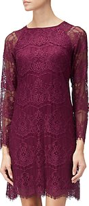 Read more about Adrianna papell scalloped lace trapeze dress burgundy