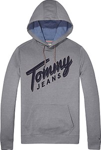 Read more about Tommy jeans logo long sleeve hoodie light heather grey
