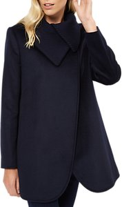 Read more about Jaeger cocoon knitted collar wool coat navy