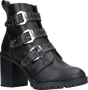 Read more about Miss kg saxon buckle block heeled ankle boots black