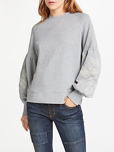 Read more about And or embroidered sleeve sweat top light grey marl