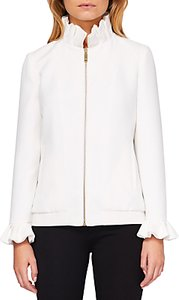 Read more about Ted baker lydiah ruffle detail bomber jacket ivory
