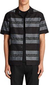 Read more about Allsaints gabon stripe short sleeve shirt black