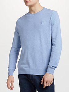 Read more about Polo ralph lauren slim fit pima cotton crew neck jumper new age blue heather