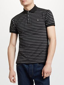 Read more about Polo ralph lauren slim stripe polo shirt black foster grey heather