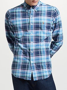 Read more about Polo ralph lauren slim fit check oxford shirt navy dawn