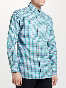 Read more about Polo ralph lauren slim fit check poplin shirt foam green pink multi