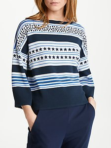 Read more about Marella camping stars stripes print jumper cornflower blue