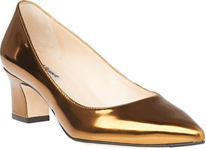 Read more about L k bennett annabelle block heeled court shoes gold