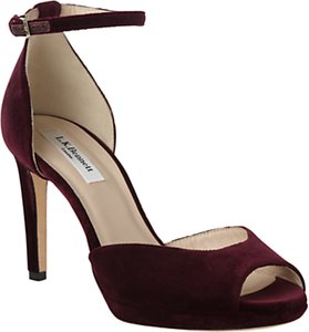 Read more about L k bennett yasmin stiletto heeled sandals loganberry velvet