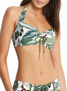 Read more about Seafolly palm beach soft cup halter bikini top moss multi