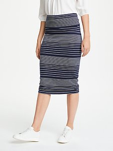 Read more about Max studio stripe jersey skirt navy white