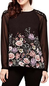Read more about Yumi floral lace detail blouse black multi
