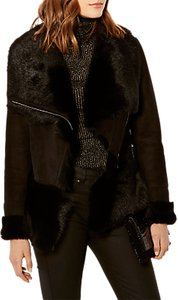 Read more about Karen millen luxury shearling leather jacket black