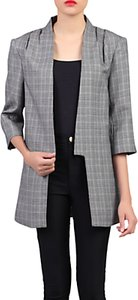 Read more about Jolie moi check open front detail blazer grey