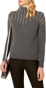 Read more about Karen millen knitted marl stud jumper dark grey