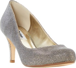 Read more about Dune amelia stiletto heeled court shoes gold fabric