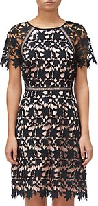 Read more about Adrianna papell ava lace trimmed a-line dress black rose gold