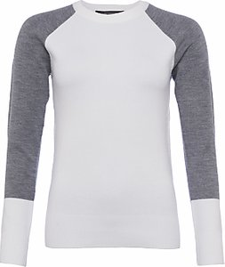 Read more about French connection colourblock crew neck jumper white grey