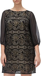 Read more about Adrianna papell plus size scalloped lace shift dress black champagne