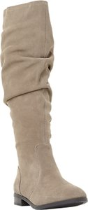 Read more about Steve madden beacon ruched knee high boots taupe