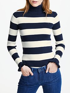 Read more about Maison scotch striped ruffle sleeve polo neck top navy white