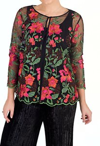 Read more about Chesca scallop trim embroidered jacket black pink