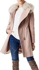 Read more about Karen millen faux fur wrap coat pale pink