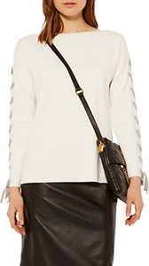 Read more about Karen millen knitted lace detail jumper white