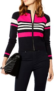 Read more about Karen millen zip-up stripe cardigan multi