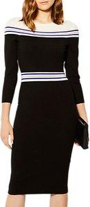 Read more about Karen millen striped knitted midi dress black multi