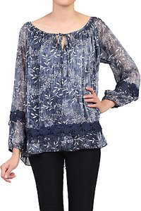 Read more about Jolie moi crochet lace insert blouse blue