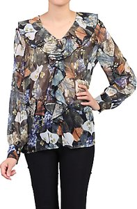 Read more about Jolie moi floral frilly v-neck blouse blue pattern