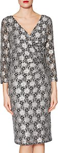 Read more about Gina bacconi monica floral motif lace dress black white
