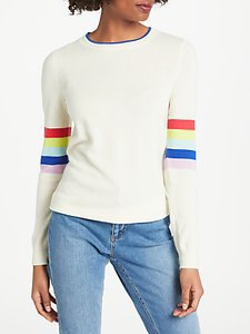 Read more about Boden cashmere crew jumper ivory rainbow multi stripe