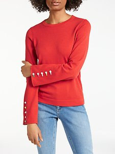Read more about Boden caprice wool blend button sleeve jumper red pop