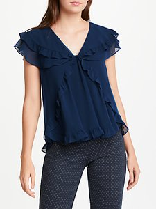 Read more about Max studio short sleeve frill blouse ocean blue