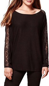 Read more about Yumi lace panel sleeve jumper black