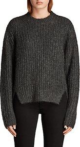 Read more about Allsaints klash cropped crew neck jumper cinder black marl