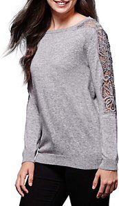 Read more about Yumi lace rhinestone panel jumper grey