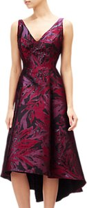 Read more about Adrianna papell plus size floral v-neck jacquard midi dress wine berry multi