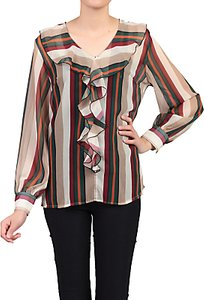 Read more about Jolie moi striped frilly v-neck blouse multi
