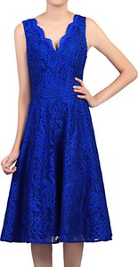 Read more about Jolie moi scalloped lace prom dress royal blue