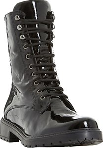 Read more about Dune rayko lace up calf boots black patent leather