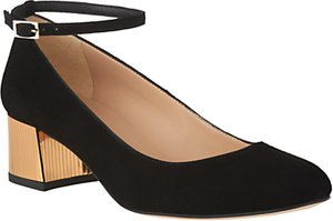 Read more about L k bennett alba block heeled court shoes black suede gold