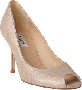 Read more about L k bennett margo peep toe court shoes platinum gold suede